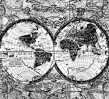 world map black and white 3 by BekimART