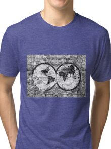 world map black and white 3 Tri-blend T-Shirt