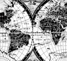 world map black and white 3 Sticker