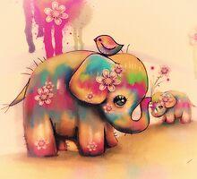 vintage tie dye elephants by © Karin (Cassidy) Taylor
