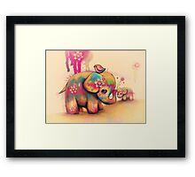 vintage tie dye elephants Framed Print