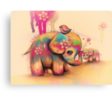 vintage tie dye elephants Canvas Print