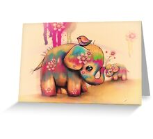 vintage tie dye elephants Greeting Card