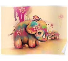 vintage tie dye elephants Poster