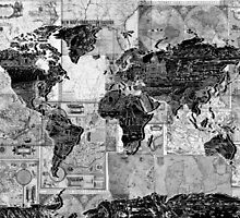 world map black and white 4 by BekimART