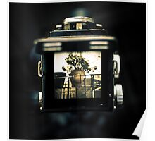A look through the viewfinder of a Yashica D Poster