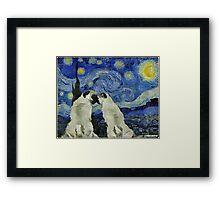 Starry Night Pugs Framed Print