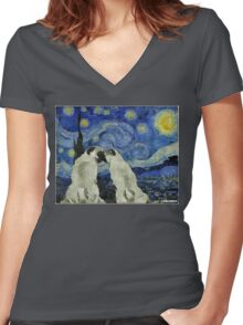 Starry Night Pugs Women's Fitted V-Neck T-Shirt