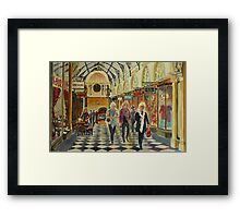 Heading for Coffee, Royal Arcade, Melbourne Framed Print
