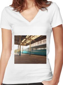 Train Station Women's Fitted V-Neck T-Shirt