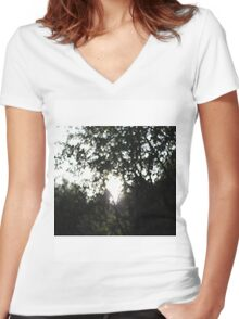 Glistening Trees Women's Fitted V-Neck T-Shirt