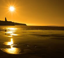 ballybunion sunny golden beach sunset by morrbyte