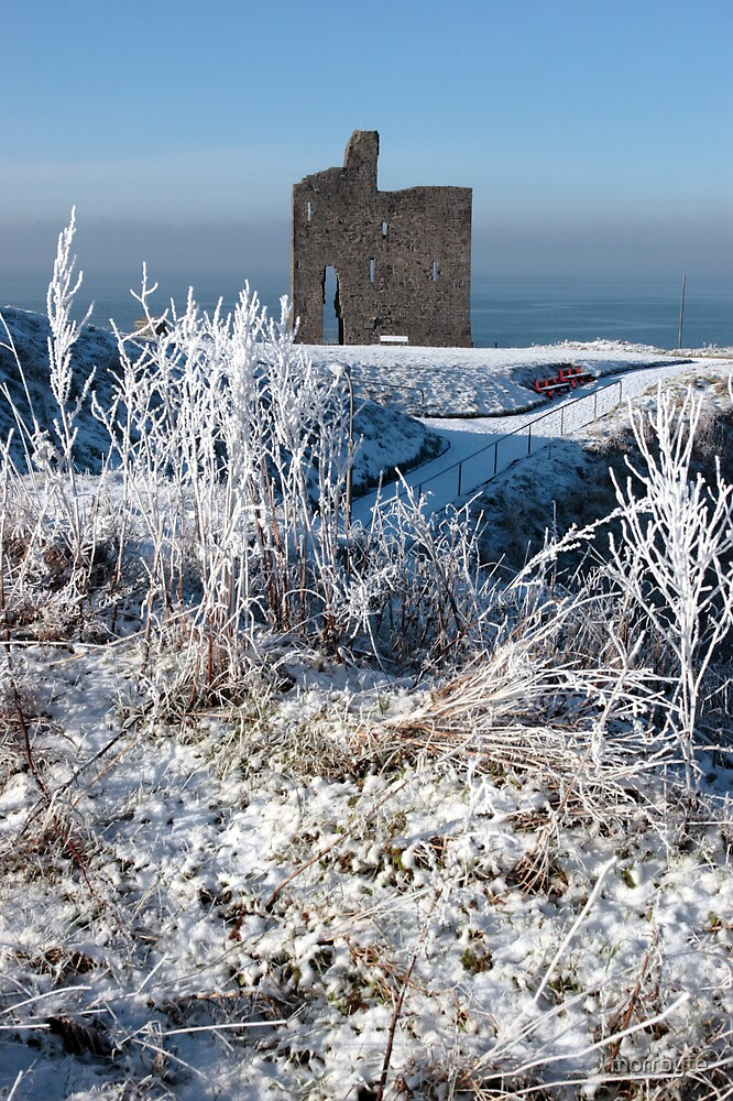 christmasy view of ballybunion castle ruin and sea by morrbyte