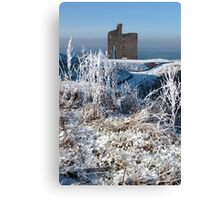 christmasy view of ballybunion castle ruin and sea Canvas Print