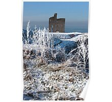 christmasy view of ballybunion castle ruin and sea Poster