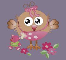 Baby bird and her Bear Kids Tee