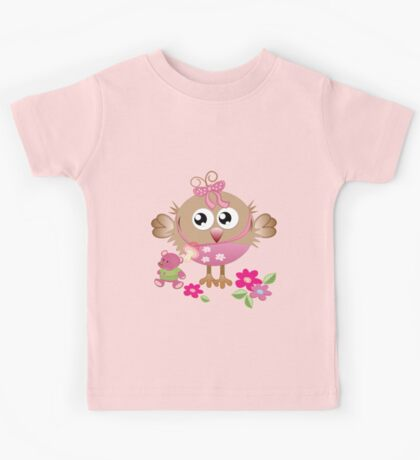 Baby bird and her Bear Kids Tee