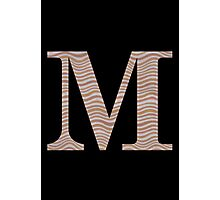 Letter M Metallic Look Stripes Silver Gold Copper Photographic Print