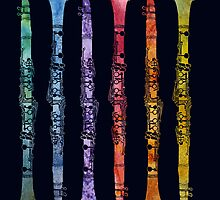 Rainbow Clarinets by PaintboxCollage