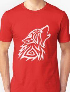 Tribal Wolf Howl - White Unisex T-Shirt
