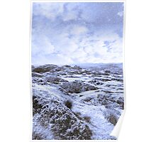 ruin in irish winter christmas landscape Poster