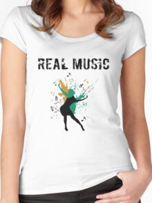 REAL MUSIC Women's Fitted Scoop T-Shirt