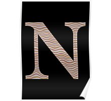Letter N Metallic Look Stripes Silver Gold Copper Poster