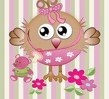 Cute Baby bird with her toy bear card by walstraasart