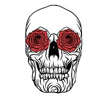 Skull and Roses Photographic Print