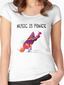 MUSIC IS POWER Women's Fitted Scoop T-Shirt