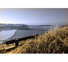view in winter to ballybunion castle and sepia bench Photographic Print