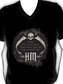 Retro Haunted Mansion Bat Sign t-shirt Design by Topher Adam for Hugs & Bitchslaps T-Shirt