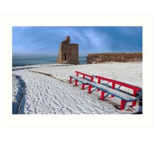 winter view of ballybunion castle and red benches Art Print