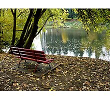 River Bench Photographic Print