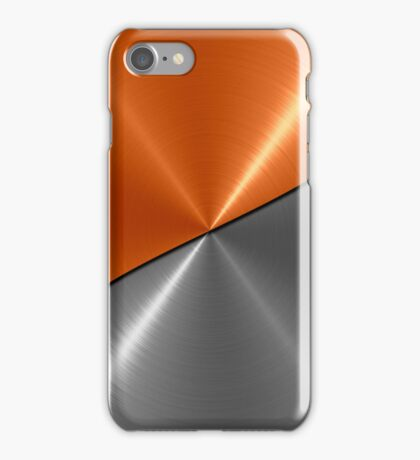 Orange and Silver Stainless Shiny Steel Metal Look iPhone Case/Skin