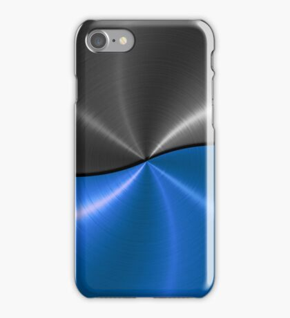 Blue and Silver Stainless Shiny Steel Metal Look  iPhone Case/Skin
