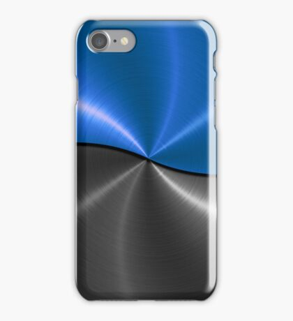 Silver and Blue Stainless Shiny Steel Metal Look iPhone Case/Skin