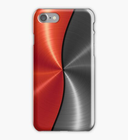 Red and Silver Stainless Shiny Steel Metal Look iPhone Case/Skin