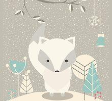 Christmas baby fox 07 by BlueLela