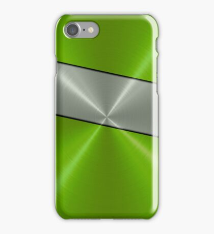 Green and Silver Stainless Shiny Steel Metal Look iPhone Case/Skin