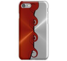 Red and Silver Stainless Shiny Steel Metal Swirl Pattern iPhone Case/Skin