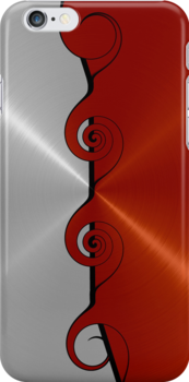 Silver and Red Stainless Shiny Steel Metal Swirl Pattern by Nhan Ngo