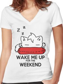 Wake Me Up For The Weekend! (red) Women's Fitted V-Neck T-Shirt