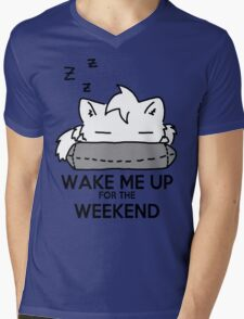 Wake Me Up For The Weekend! (gray) Mens V-Neck T-Shirt
