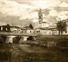 Vintage Beautiful italian landscape, hand painted by superpixus