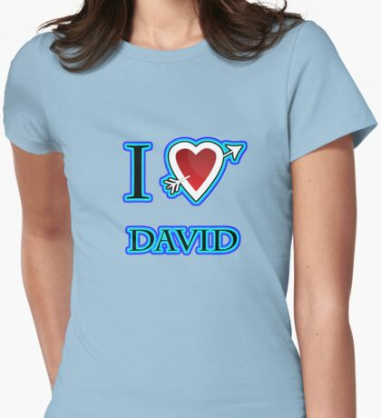 i love David heart  Womens Fitted T-Shirt