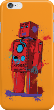 Red Robot Lilliput Splattery Shirt or iPhone Case by thedailyrobot