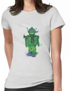 Green Splattery Toy Robot Shirt or iPhone Case Womens Fitted T-Shirt