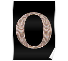 Letter O Metallic Look Stripes Silver Gold Copper Poster