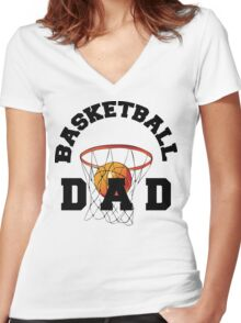 Basketball Dad Women's Fitted V-Neck T-Shirt